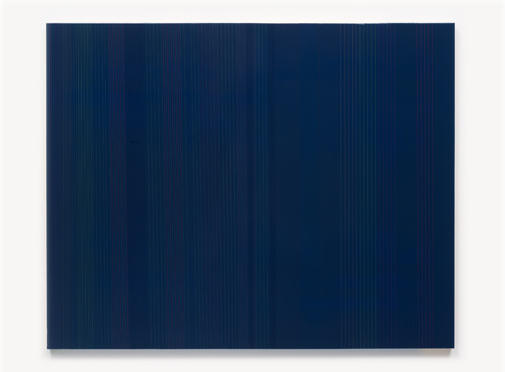 Brian Wills, Untitled 2012, Oil, rayon thread and linear polyurethane on wood, 36 x 36 inches