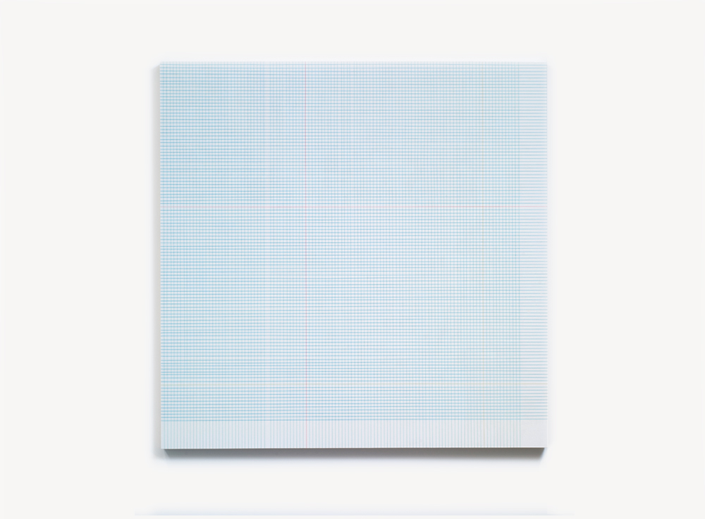 Brian Wills, Untitled (Graph grid), 2012 Enamel, rayon thread and linear polyurethane on wood, 60 x 60 inches