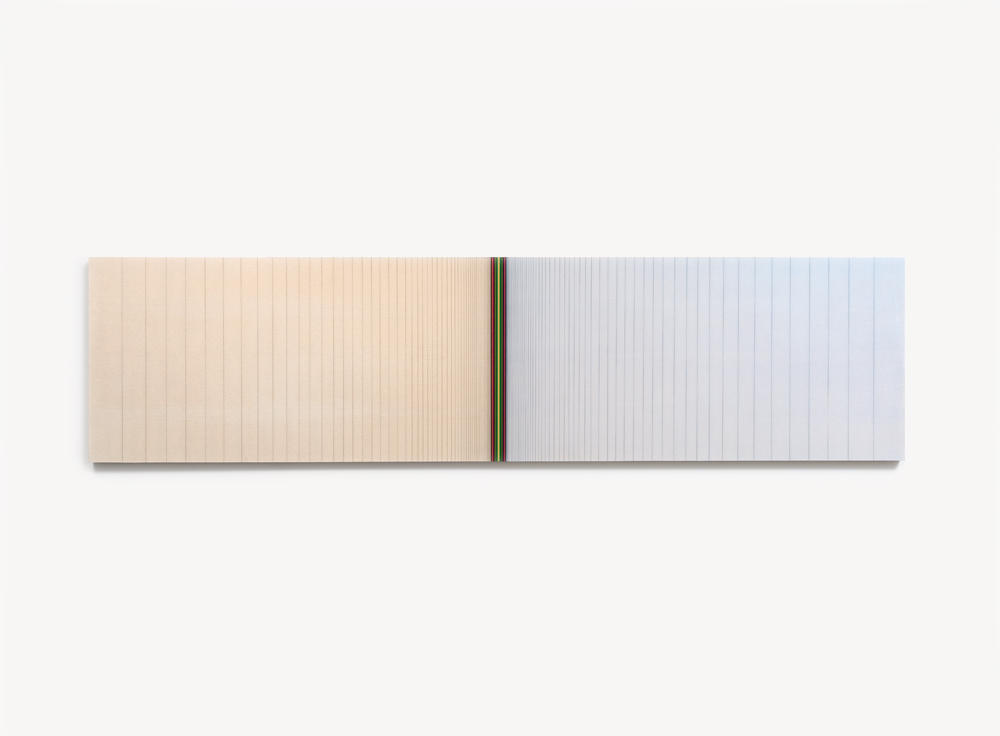 "Brian Wills, Untitled (Vertical horizon), 2012, Oil, rayon thread and linear polyurethane on wood,  24 x 96 inches                                                                  Normal     0                     false     false     false         EN-US     JA     X-NONE                                                                                                                                                                                                                                                                                                                                                                                                                                                                                                                                                                                                                                                                                                                    /* Style Definitions */ table.MsoNormalTable 	{mso-style-name:""Table Normal""; 	mso-tstyle-rowband-size:0; 	mso-tstyle-colband-size:0; 	mso-style-noshow:yes; 	mso-style-priority:99; 	mso-style-parent:""""; 	mso-padding-alt:0in 5.4pt 0in 5.4pt; 	mso-para-margin-top:0in; 	mso-para-margin-right:0in; 	mso-para-margin-bottom:10.0pt; 	mso-para-margin-left:0in; 	mso-pagination:widow-orphan; 	font-size:12.0pt; 	font-family:Cambria; 	mso-ascii-font-family:Cambria; 	mso-ascii-theme-font:minor-latin; 	mso-hansi-font-family:Cambria; 	mso-hansi-theme-font:minor-latin; 	mso-fareast-language:JA;}"