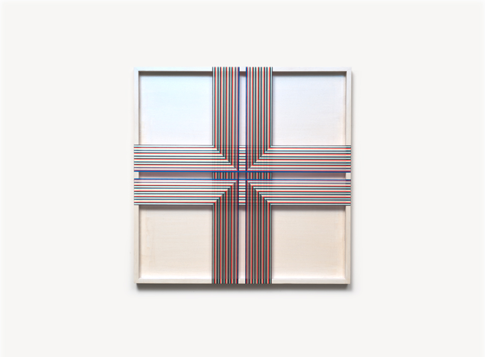 Brian Wills, Untitled (Inverted Cross), 2012, Oil, rayon thread on wood panel, 36 x 36 inches