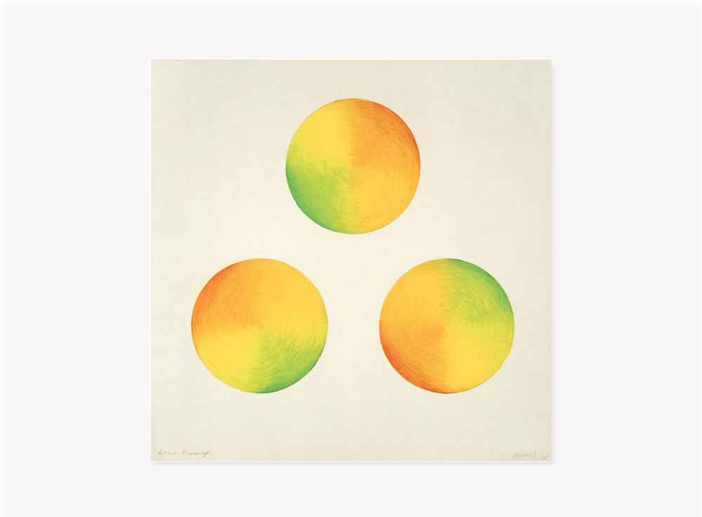 """Judy Chicago, Dome Drawing (Orange, Yellow, Green), 1968, Prismacolor on paper, 15 x 15 inches                                Normal    0                false    false    false       EN-US    JA    X-NONE                                                                                                                                                                                                                                                                                                                                                                                                                                                                                                                                                  /* Style Definitions */ table.MsoNormalTable {mso-style-name:""""Table Normal""""; mso-tstyle-rowband-size:0; mso-tstyle-colband-size:0; mso-style-noshow:yes; mso-style-priority:99; mso-style-parent:""""""""; mso-padding-alt:0in 5.4pt 0in 5.4pt; mso-para-margin-top:0in; mso-para-margin-right:0in; mso-para-margin-bottom:10.0pt; mso-para-margin-left:0in; mso-pagination:widow-orphan; font-size:12.0pt; font-family:Cambria; mso-ascii-font-family:Cambria; mso-ascii-theme-font:minor-latin; mso-hansi-font-family:Cambria; mso-hansi-theme-font:minor-latin; mso-fareast-language:JA;}"""