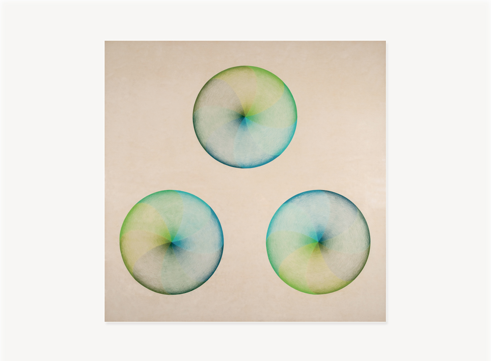 """Judy Chicago, Large Dome Drawing Blue/Green, 1968-69, Prismacolor on paper, 55 x 54.75 inches                                Normal    0                false    false    false       EN-US    JA    X-NONE                                                                                                                                                                                                                                                                                                                                                                                                                                                                                                                                                  /* Style Definitions */ table.MsoNormalTable {mso-style-name:""""Table Normal""""; mso-tstyle-rowband-size:0; mso-tstyle-colband-size:0; mso-style-noshow:yes; mso-style-priority:99; mso-style-parent:""""""""; mso-padding-alt:0in 5.4pt 0in 5.4pt; mso-para-margin-top:0in; mso-para-margin-right:0in; mso-para-margin-bottom:10.0pt; mso-para-margin-left:0in; mso-pagination:widow-orphan; font-size:12.0pt; font-family:Cambria; mso-ascii-font-family:Cambria; mso-ascii-theme-font:minor-latin; mso-hansi-font-family:Cambria; mso-hansi-theme-font:minor-latin; mso-fareast-language:JA;}"""
