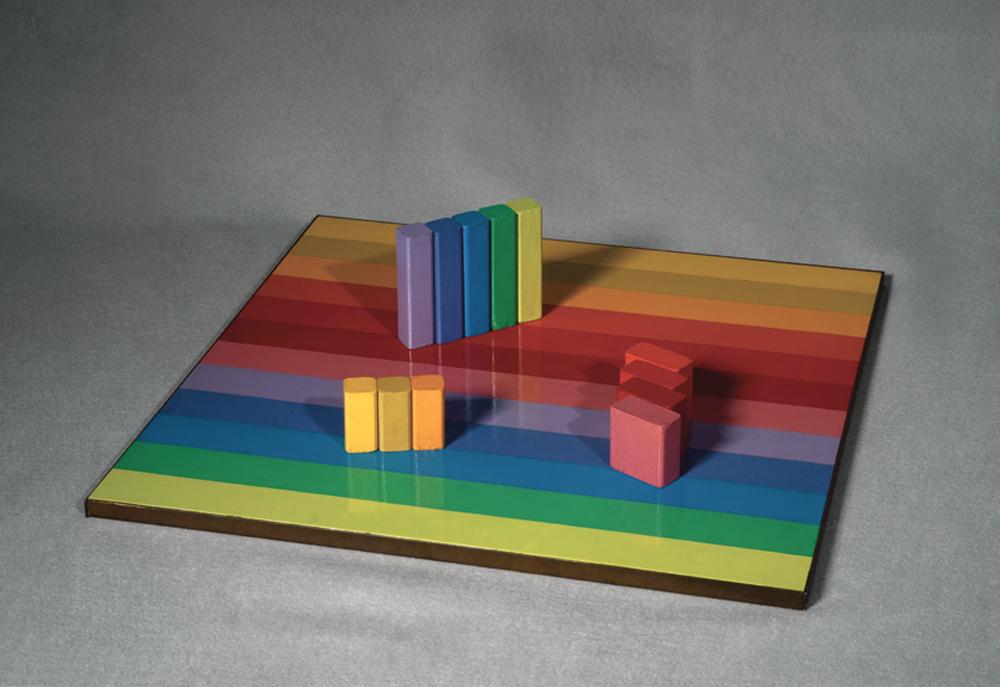 Judy Chicago, Aluminum Rearrangeable Game Board, 1965, Sandblasted aluminum, 18 x 18 inches