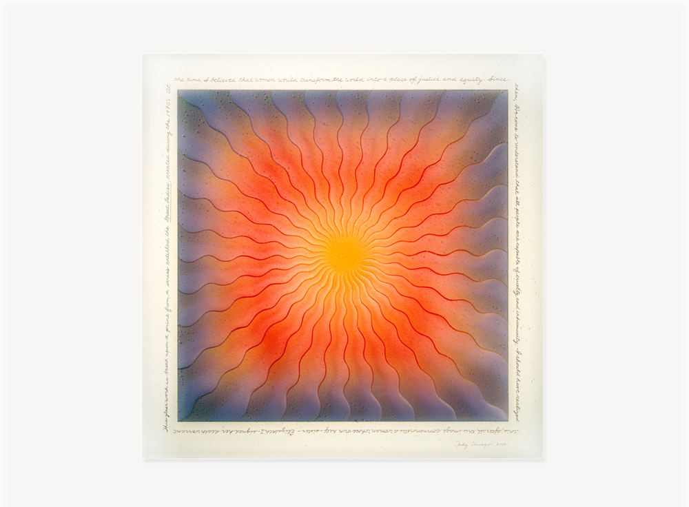 Judy Chicago, Mary Wollstonecraft, Gridded Runner drawing, 1975-1978, Ink and mixed media on vellum, 56 x 30 inches, 62 x 38 installed