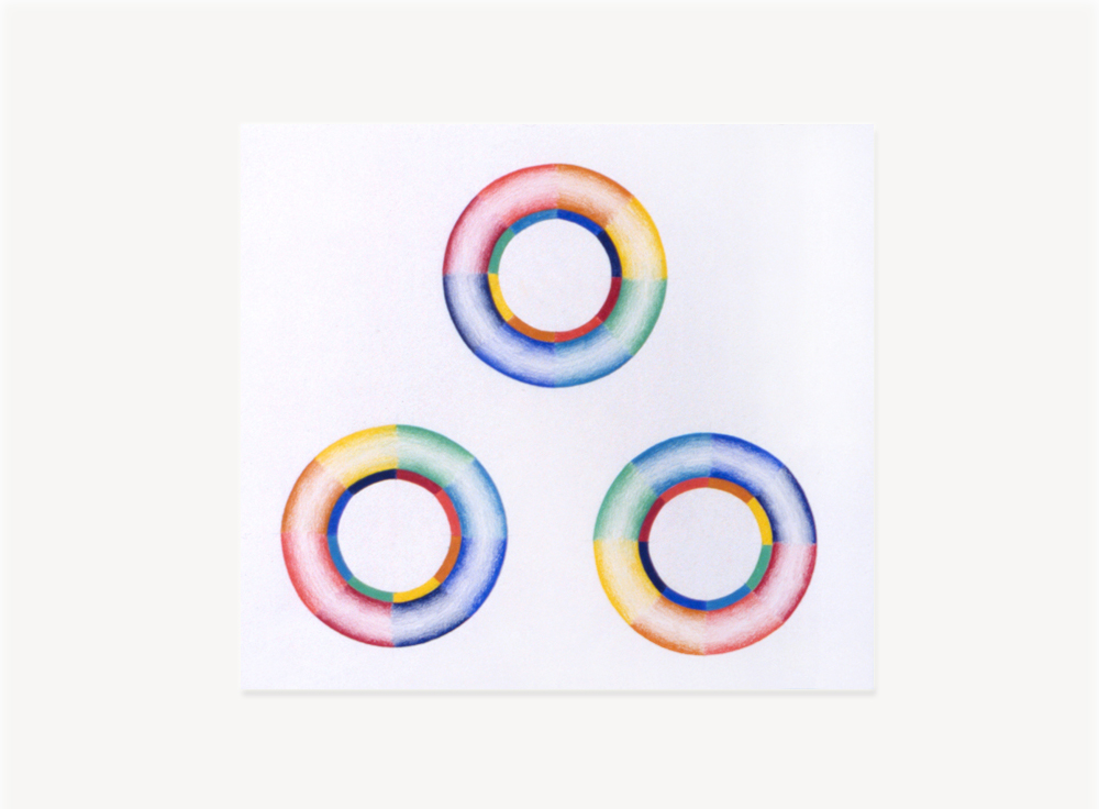 Judy Chicago, Study for Whirling Donuts, 1968, Prismacolor on paper, 15 x 15 inches