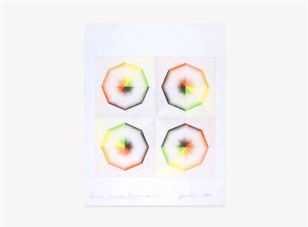 Judy Chicago, Whirling Donuts, 1968, Prismacolor on paper, 18 x 24 inches