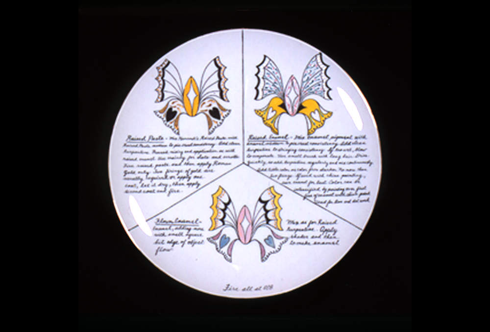 Judy Chicago, China-painting test plate, Raised Paste/Raised Enamel/Flown enamel, 1972-1974, China paint on porcelain, 10.25 inches diameter (26 cm), 16.5 x 16.5 x 3 installed