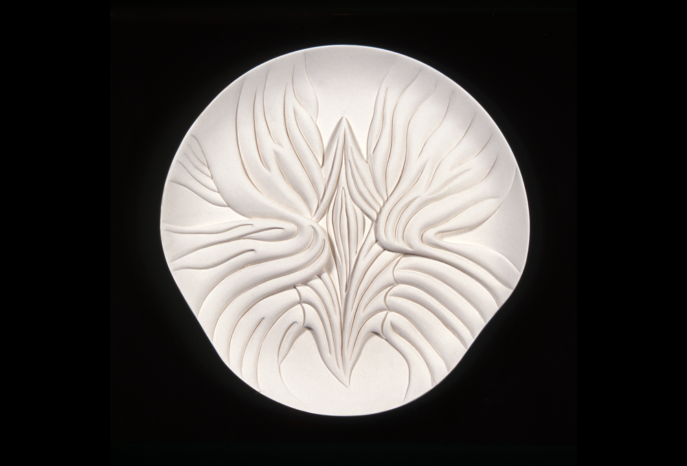 Judy Chicago, Mary Wollstonecraft Test Plate #5, 1975-1978, Bisque porcelain, 14.75 x 3.5 inches