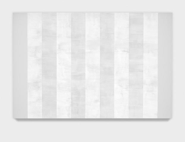 Mary Corse   Untitled (White 9 Multi-Inner Bands, Beveled), 2012  Glass Microspheres in acrylic on canvas  4' x 6'