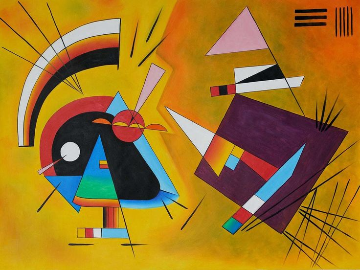 "Kandinsky's 1923 composition  Black and Violet . The pioneering abstractionist, a professor of law by trade, was inspired to pursue art after seeing Monet's ""Haystacks"" in a museum and hearing music akin to Richard Wagner's  Lohengrin."