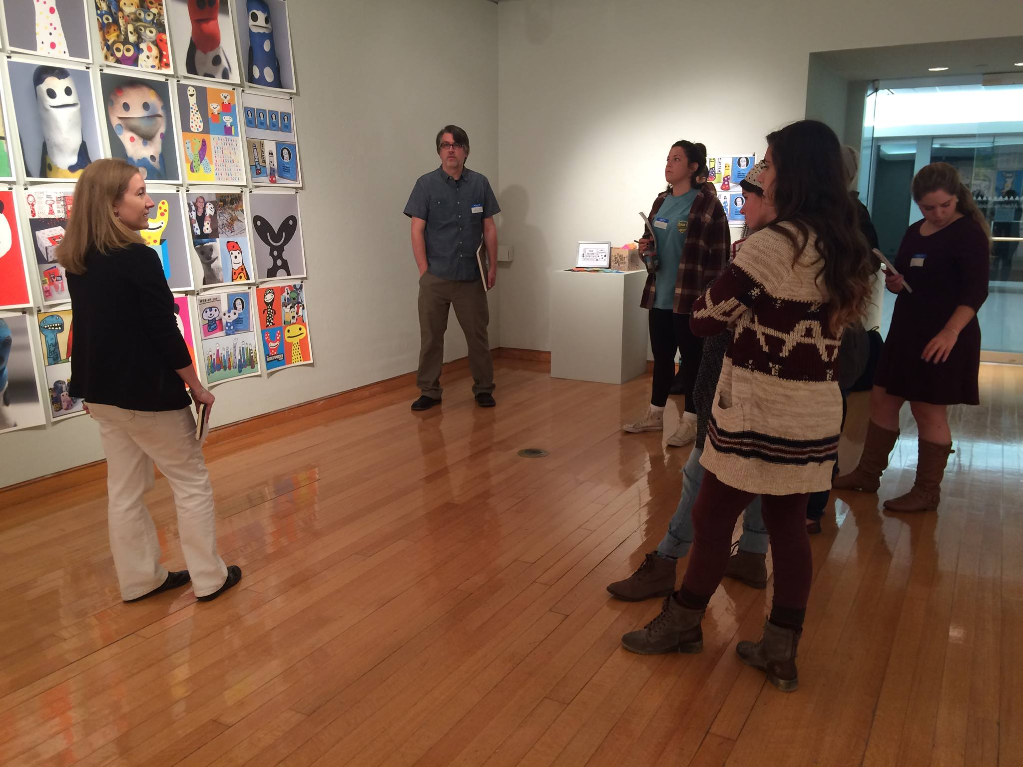 Dr. Danker conducted several of her classes in the gallery so I could talk to students about my work. Students gave really innovative ways they could use my creative process in art education.