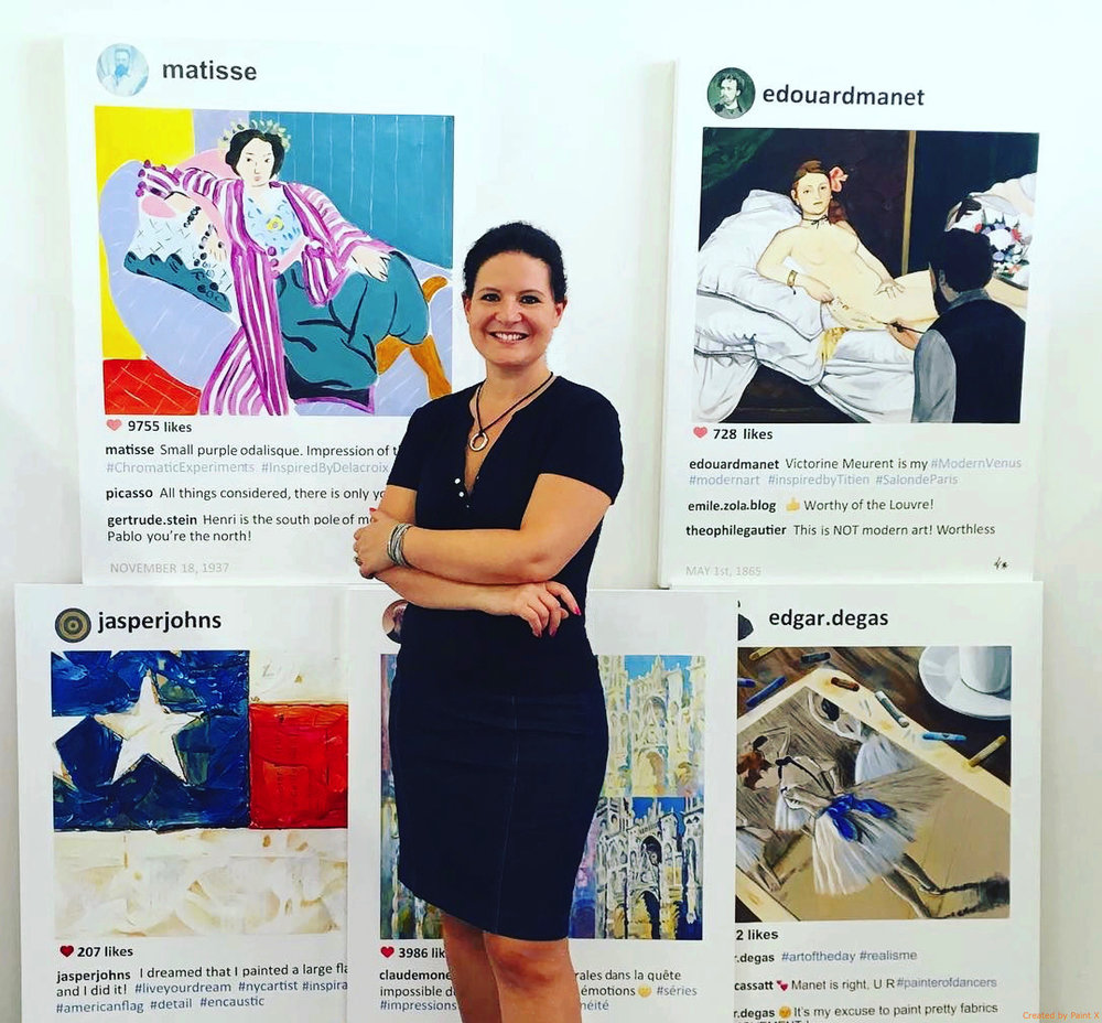 Art & Social Media - Have you ever imagined what famous artists from the past might say if they had the social media tools of today? That's exactly what Artist Laurence de Valmy does in her POST series, in which she combines iconic artworks skillfully appropriated and created in acrylic, with historically accurate yet imagined conversations.Read our interview below to learn about her work, process & inspirations.
