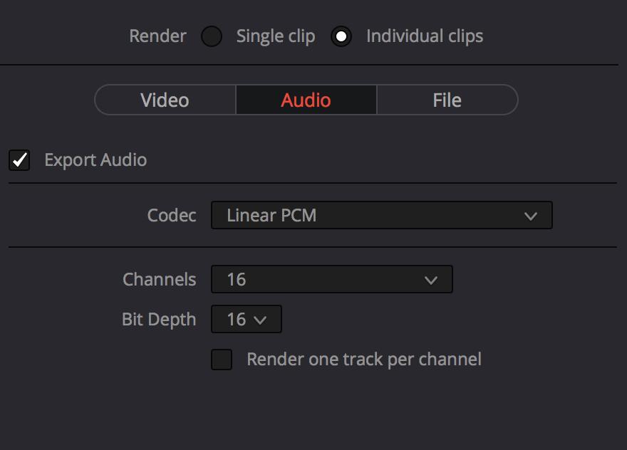 DaVinci Resolve audio output settings.