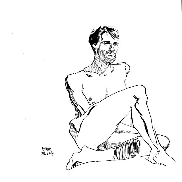 Life drawing, 10 minutes, ink only. #figuredrawing #figure #drawing #sketchbook #sketch #inking #mikebarron #drawingnewyork #brushpen #pen #lifedrawing #art #fineart #line #penandink #figure #figurativeart #inkdrawing #nudemodeldrawing #malenude #inkonly #artmodel #mikebarronlifedrawing