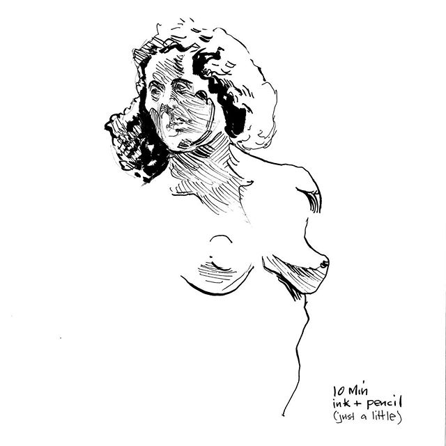 Life drawing, 10 minutes, ink only (mostly). #figuredrawing #figure #drawing #sketchbook #sketch #inking #mikebarron #drawingnewyork #brushpen #pen #lifedrawing #art #fineart #line #penandink #figure #figurativeart #inkdrawing #nudemodeldrawing #femalenude #inkonly #smudgingischeating #artmodel #mikebarronlifedrawing