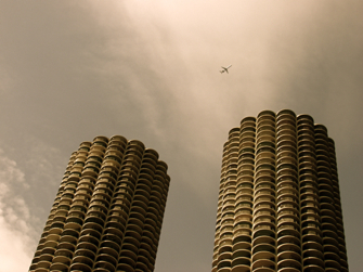 Flying Over Marina City (Chicago), photograph, 2006.jpg