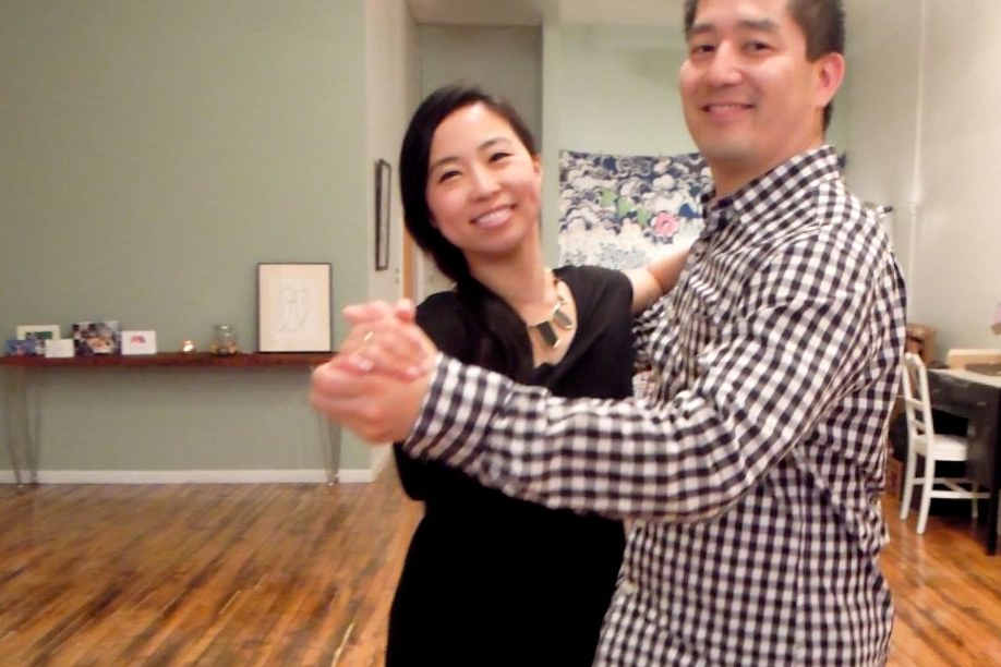 Bride and Groom, Susan and Dennis, learning to dance for their wedding at Duet Dance Studio.