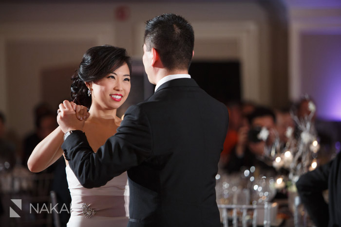 Duet Dance Studio's students, Dennis and Susan, dancing at their wedding in Chicago. Photo by Nakai Photography .