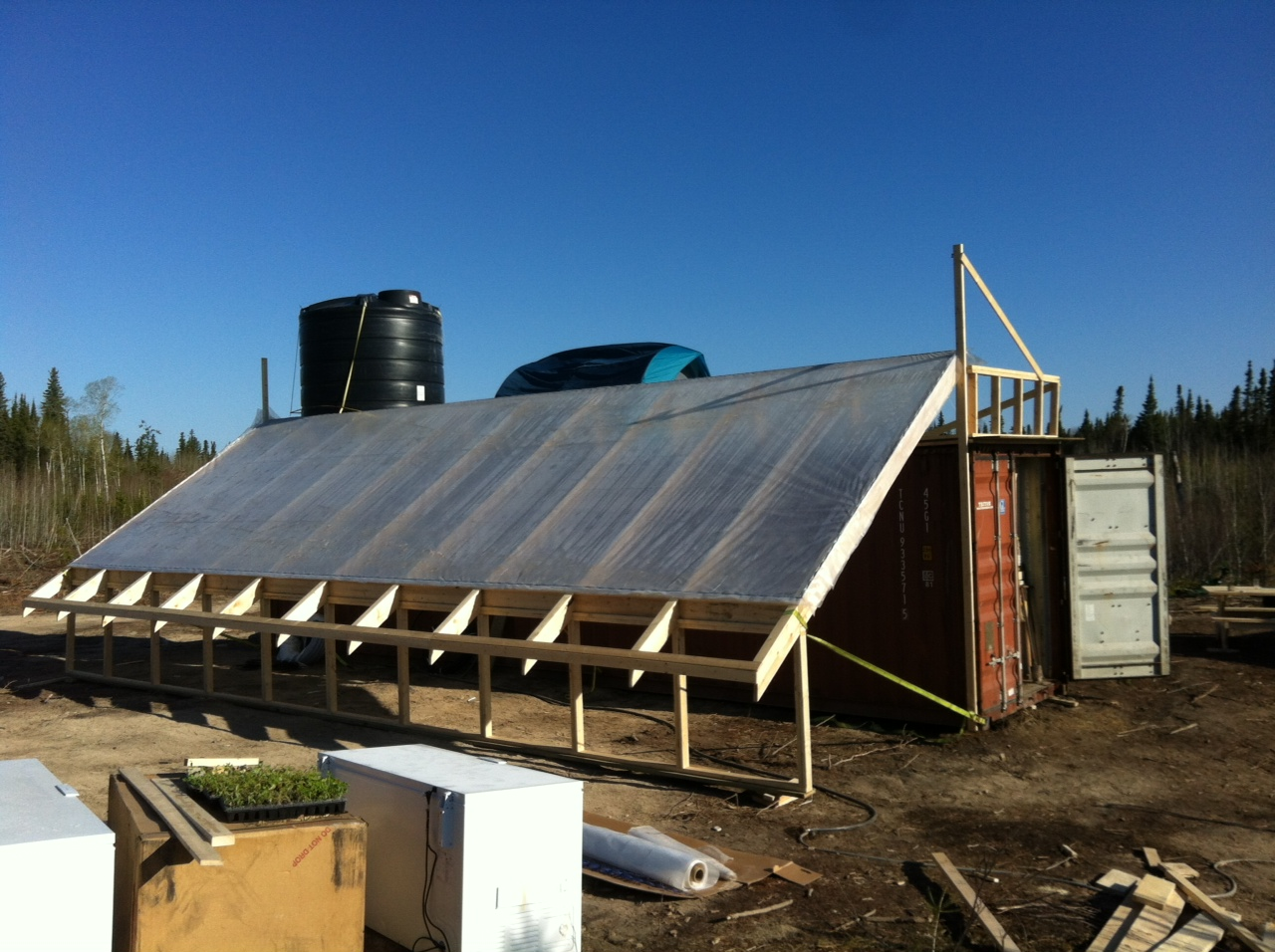 The greenhouse in progress - built off the south side of the container.