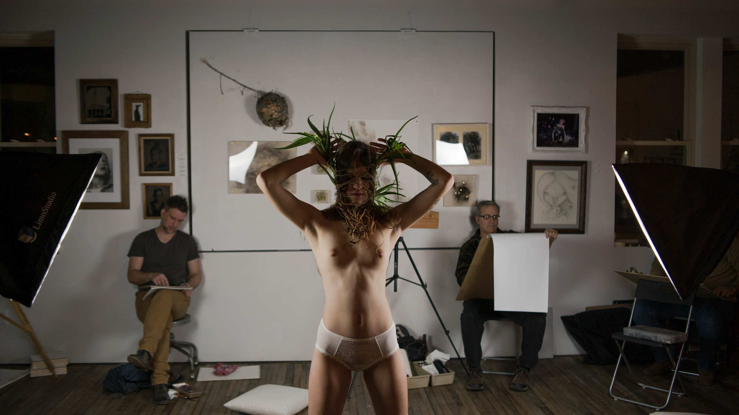 oliver franklin anderson, aloe, bondage, rope, tie, bdsm, plant, life drawing, figure drawing, nude, model, topless, white stockings, hair, underwear, pose, art, fashion film, fashion photography, fashion, photography, drawing, art, wisconsin, appleton, erotic