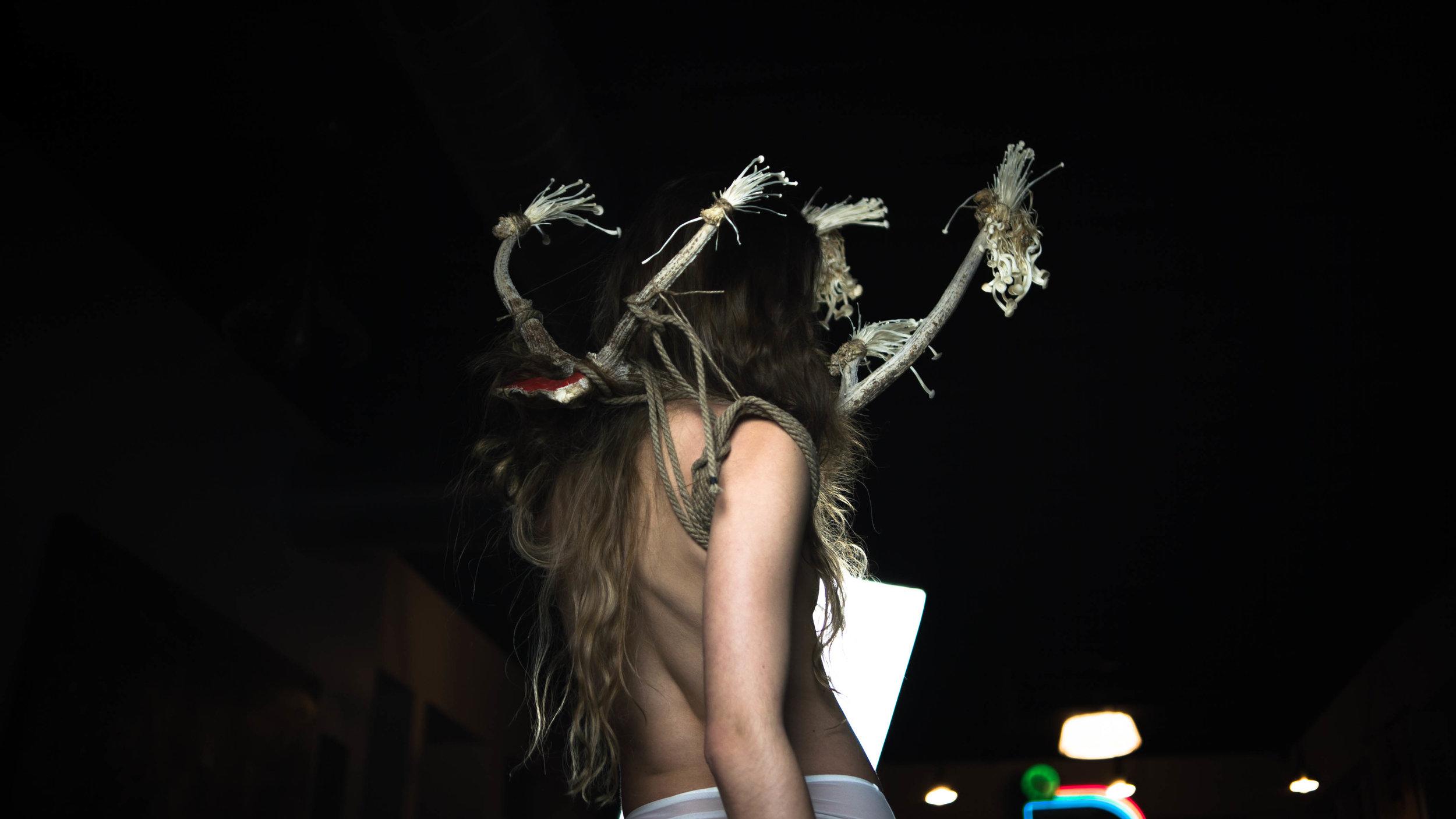 oliver franklin anderson, reindeer, caribou, antlers, rack, red, mushrooms, bondage, tied, decorative, shroom, fungi, fashion film, bdsm, rope, twisted monk, figure drawing, life drawing, prop, nature, natural, design, radish, erotic, appleton, wisconsin, deer, bones, fashion, fashion photography, styling, elegant
