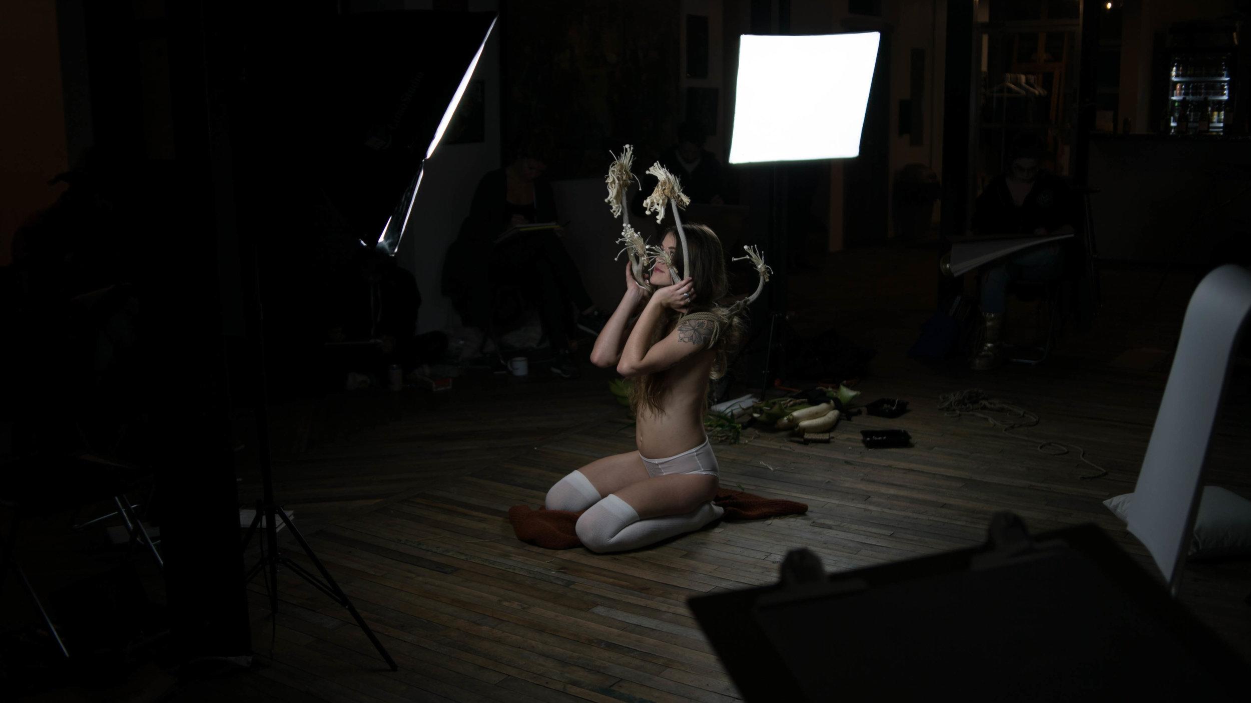 oliver franklin anderson, reindeer, caribou, antlers, rack, red, mushrooms, bondage, tied, decorative, shroom, fungi, fashion film, bdsm, rope, twisted monk, figure drawing, life drawing, prop, nature, natural, design, radish, erotic, appleton, wisconsin, deer, bones, kneeling, fashion photography, fashion, styling