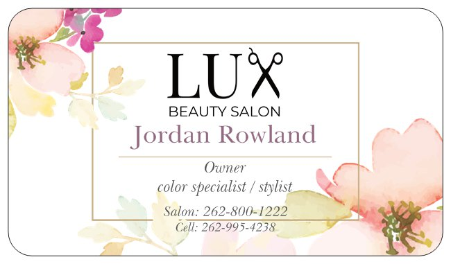owner - Jordan Rowland is the owner of LUX beauty salon. With the experience behind her, Jordan is an amazing colorist and pristine educator. She is currently running her chair with her associate Kellee.
