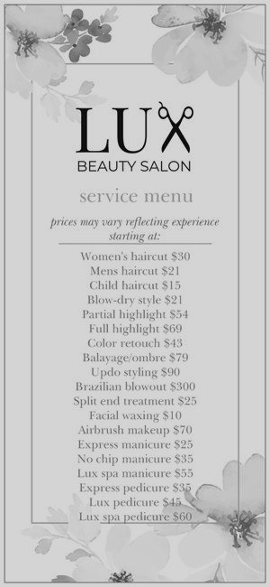 Starting Prices - Prices Vary depending on experience level