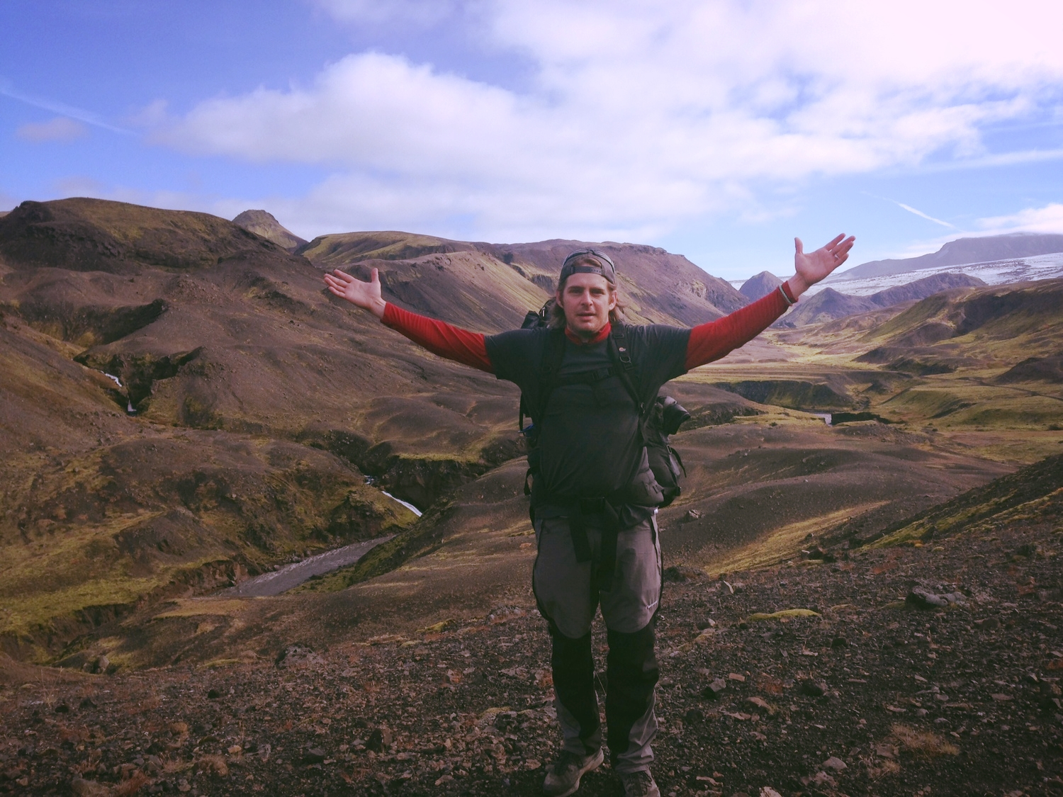 "On the trail in Iceland. I thought this photo appropriate as a symbolic way to say, ""Let's begin this year with arms open, expectant, joyful."""