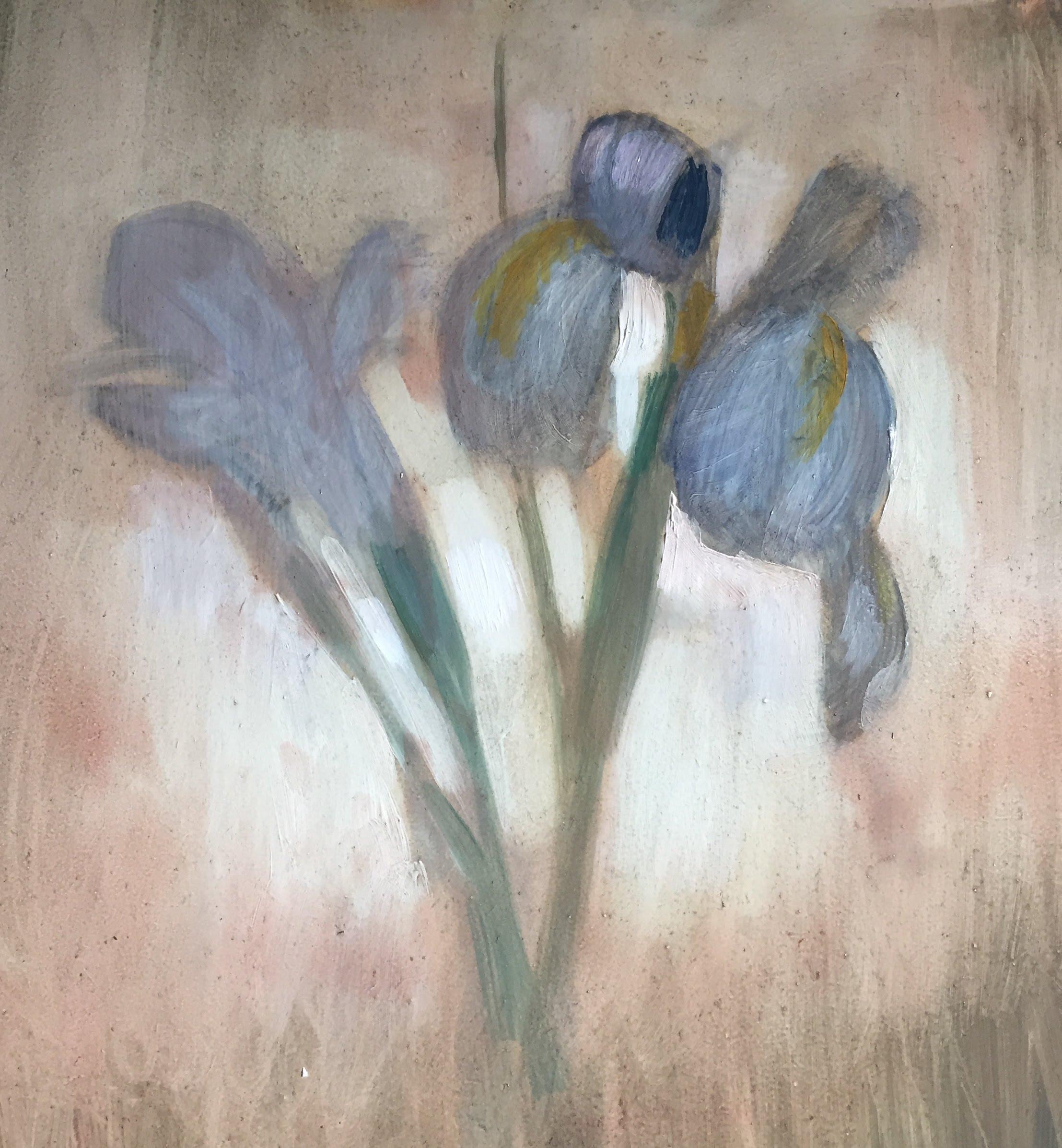 "Dream Iris / 10 x 10"" / oil on birch panel."