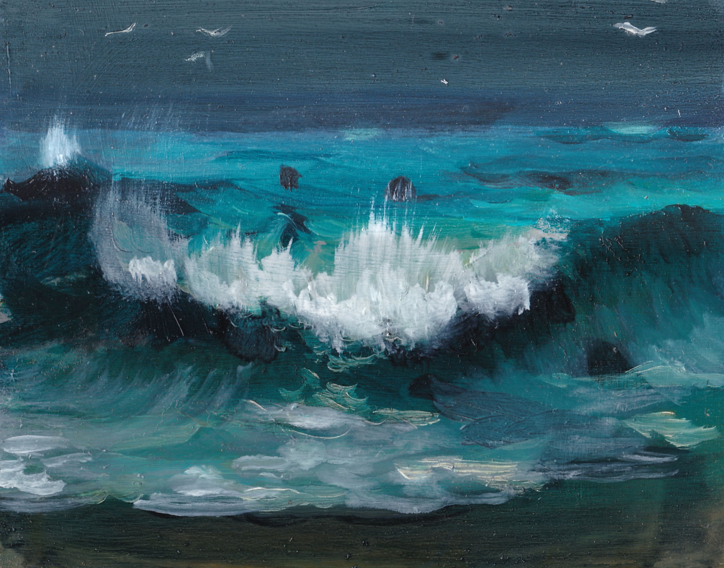 """Seals in the Surf/ 4 x 5""""/ oil on birch panel"""