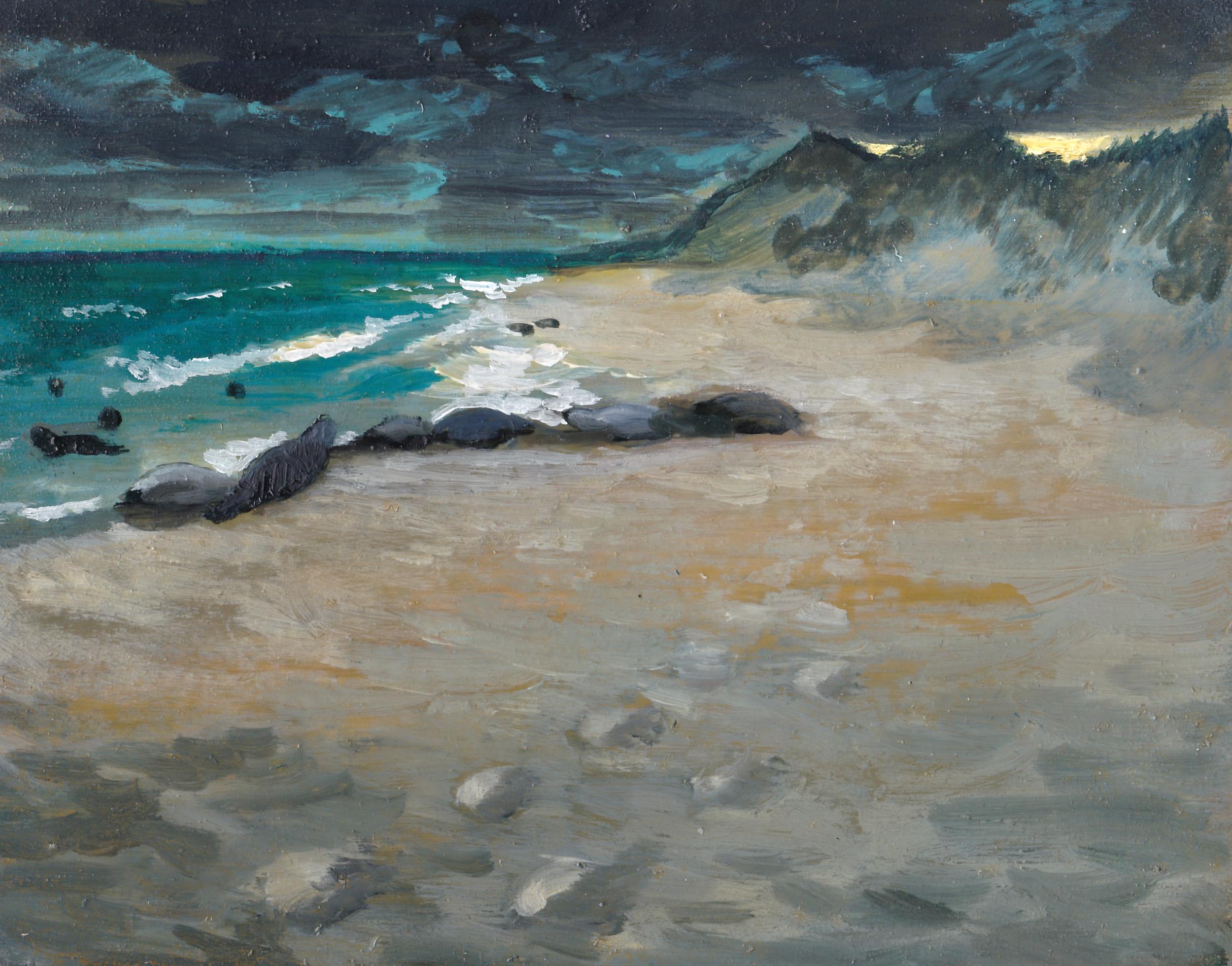 "Seals on North Beach/ 4 x 5""/ Oil on Birch Panel"