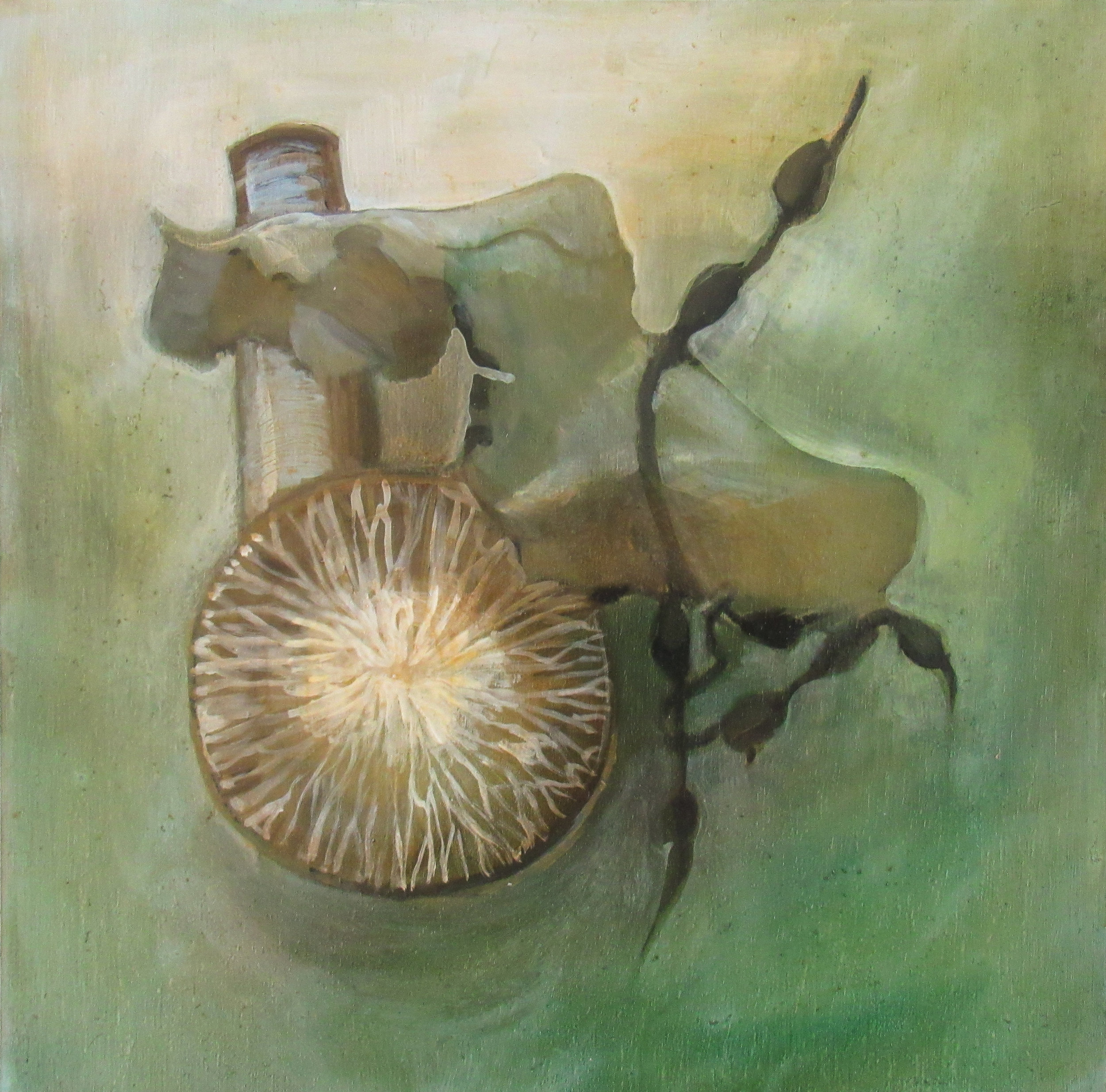 """Whale Invertebral Disc and Sea Weed/ 10 x 10"""" / oil on birchwood panel"""