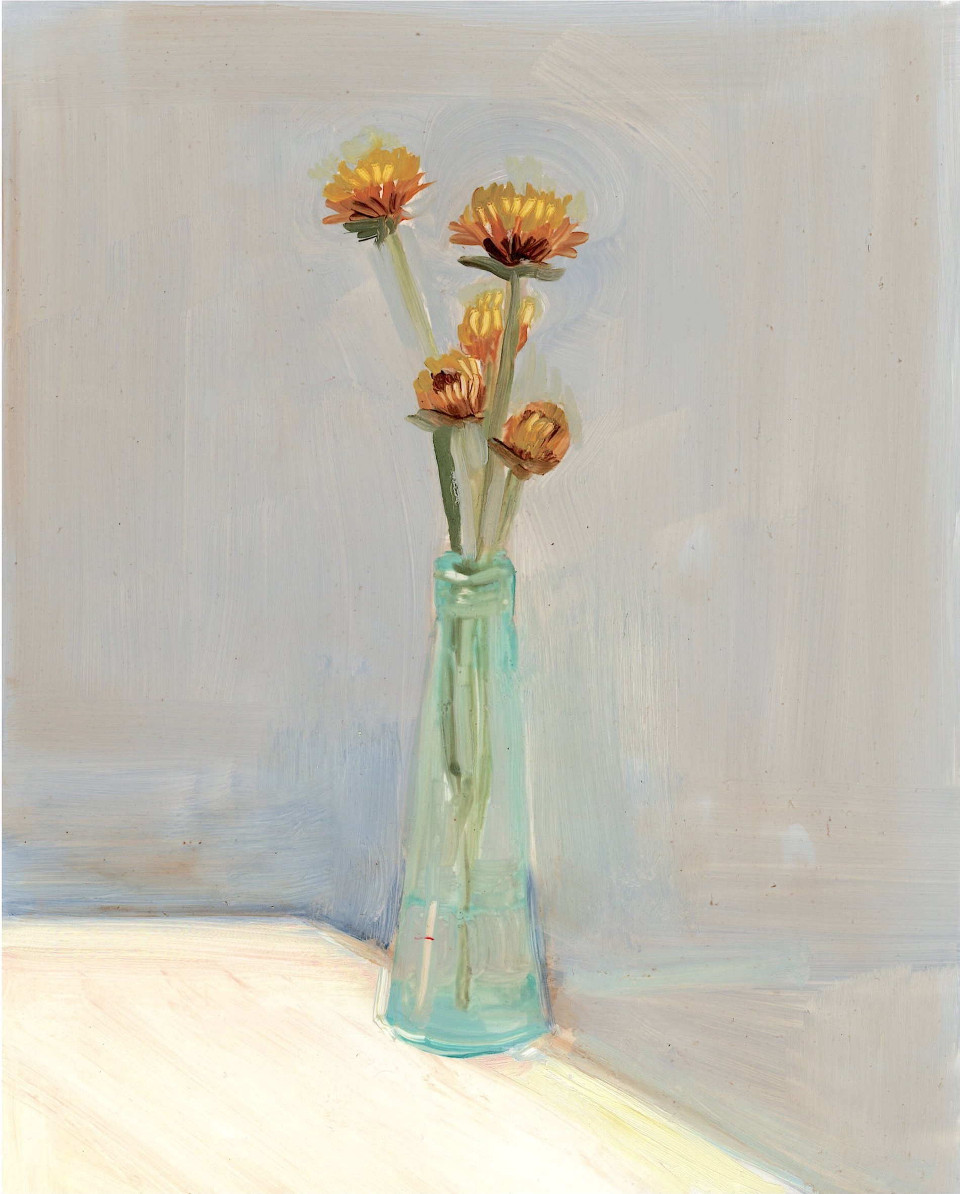 Straw Flower in Teal Vase