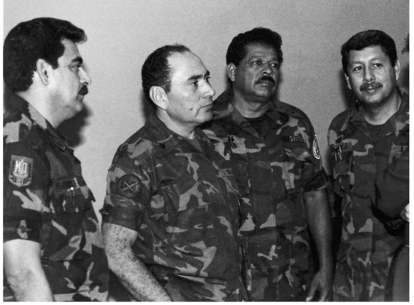 Ponce & Larios on the left, July 1989. In 2011 a Spanish judge issued a warrant for their arrest. Photo AP/La Prensa Gráfica