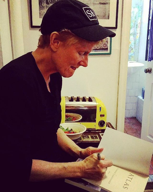 Signing books in my kitchen, practicing the opposite of jaw relaxation #TheTongueIsTheRudderOfTheBody #Atlas #NYC #igetbywithalittlehelpfrommyfriends #shakespeareandcompany
