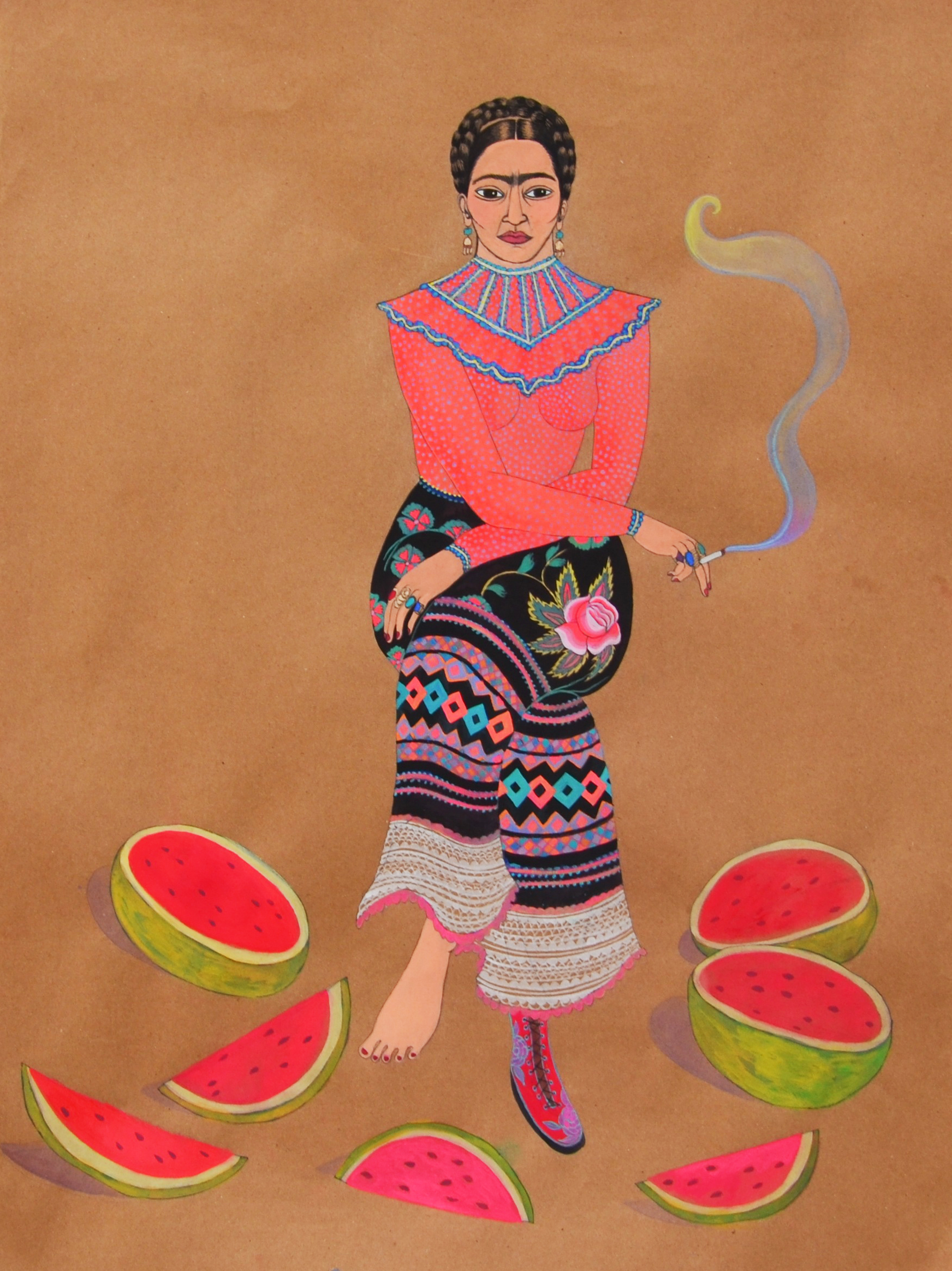 Frida Kahlo with watermelons, 2014