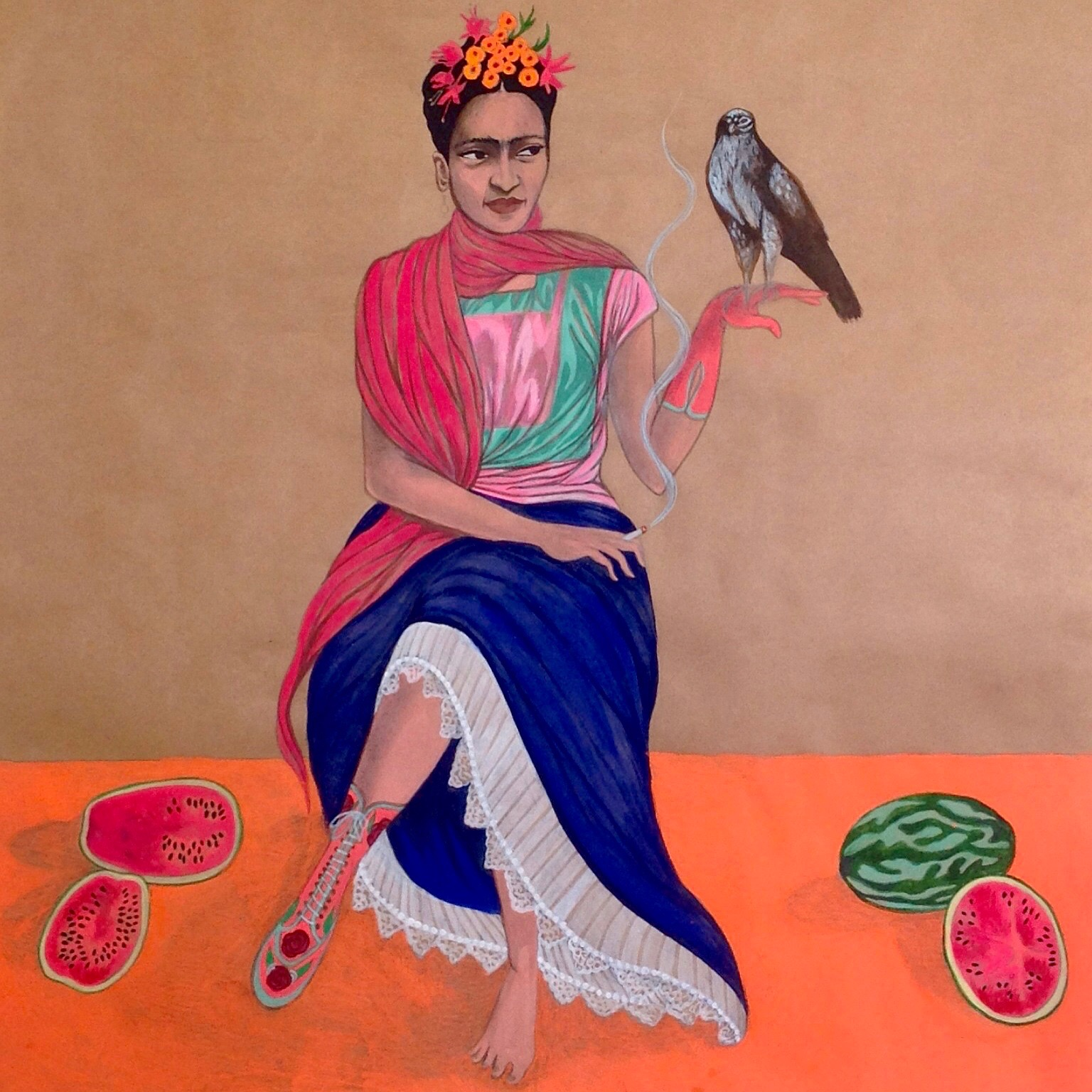 Frida Kahlo with hawk, watermelons and prosthetic leg, 2015
