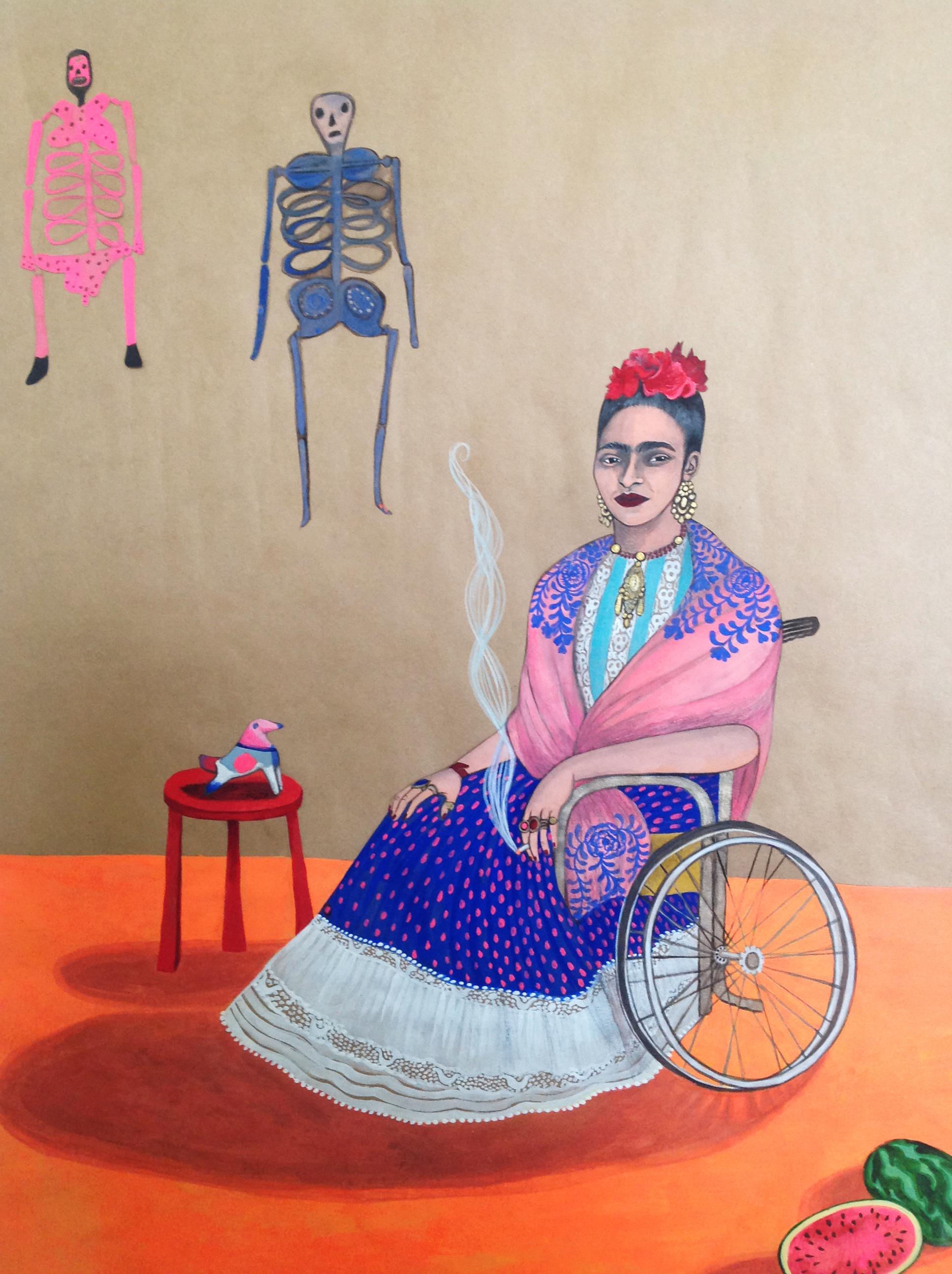 Frida Kahlo in wheelchair, 2015