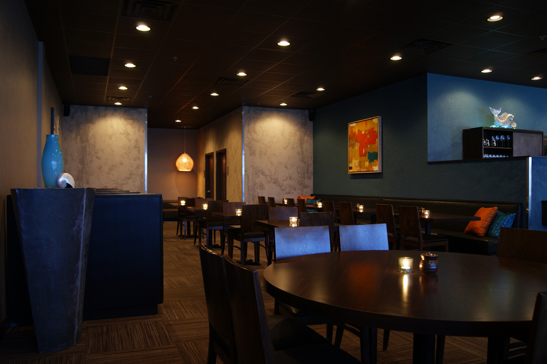 Evening Interior View of Restaurant
