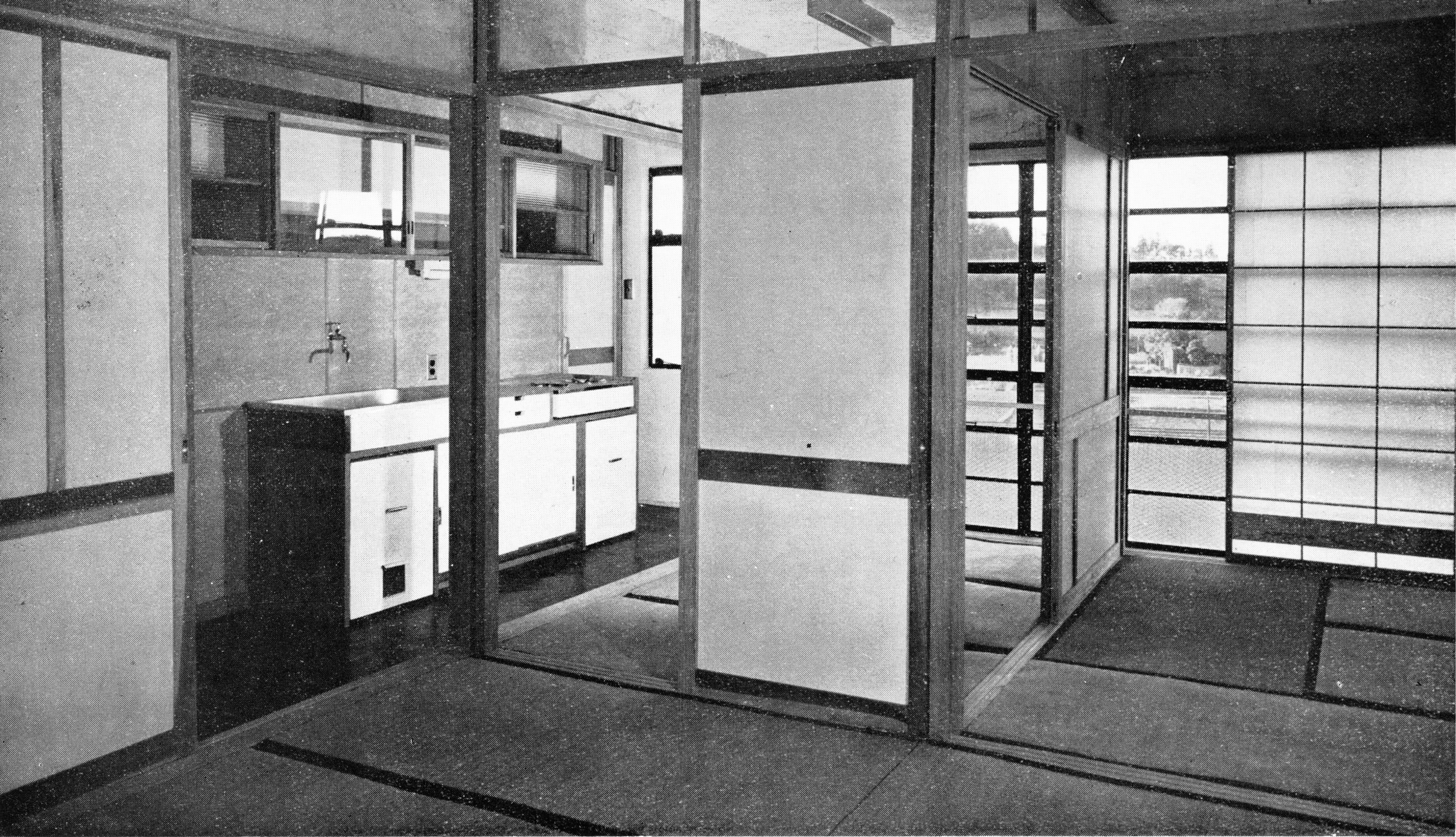 (Japan Architect   1956-57  , pg. 30, photos Y. Ishimoto )  Kitchen core and living area