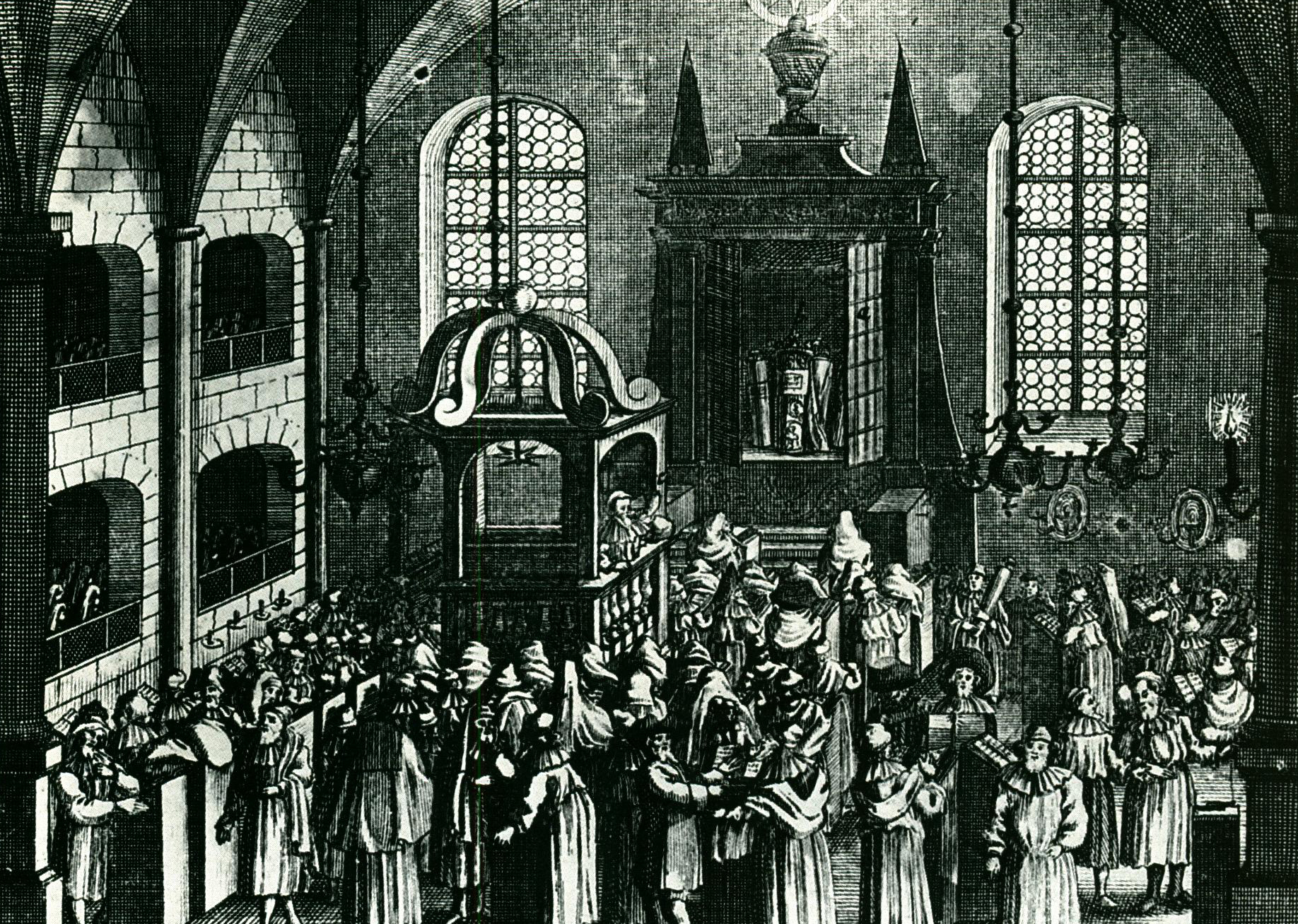 (Story of the Synagogue, pg 52) A medieval synagogue and communal hub; womens' galleries on left