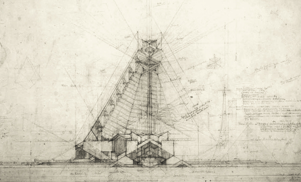 Frank Lloyd Wright's Steel Cathedral un-built proposal (1926)