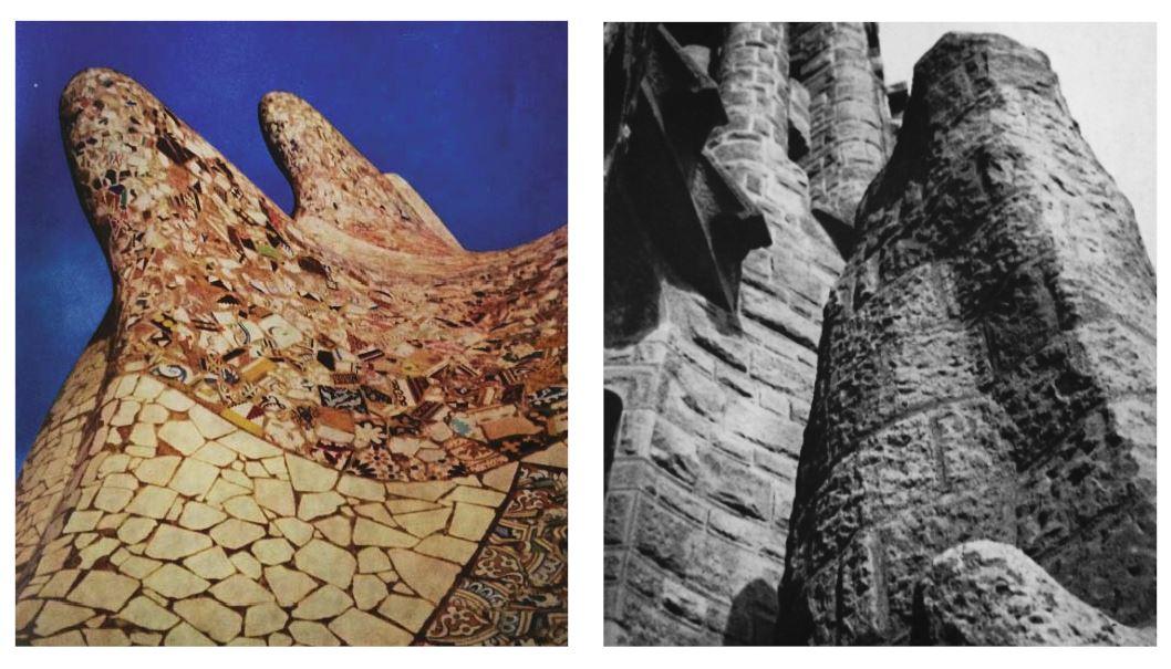 Image: Organic form and new forms of ornament; broken ceramic & pottery,  Antoni Gaudi, New York, 1961
