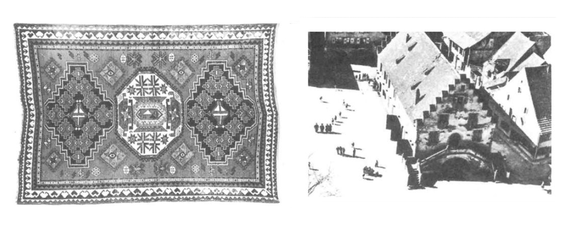 Image: Comparisons Christopher Alexander made from textiles to architecture indicating universal geometries.