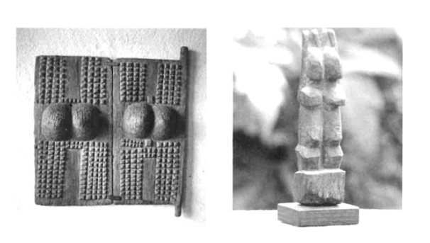 Image: Dogon artifacts showcasing the twin representations of the 'world-egg'. (left: wooden doors, right: Nommo effigy)