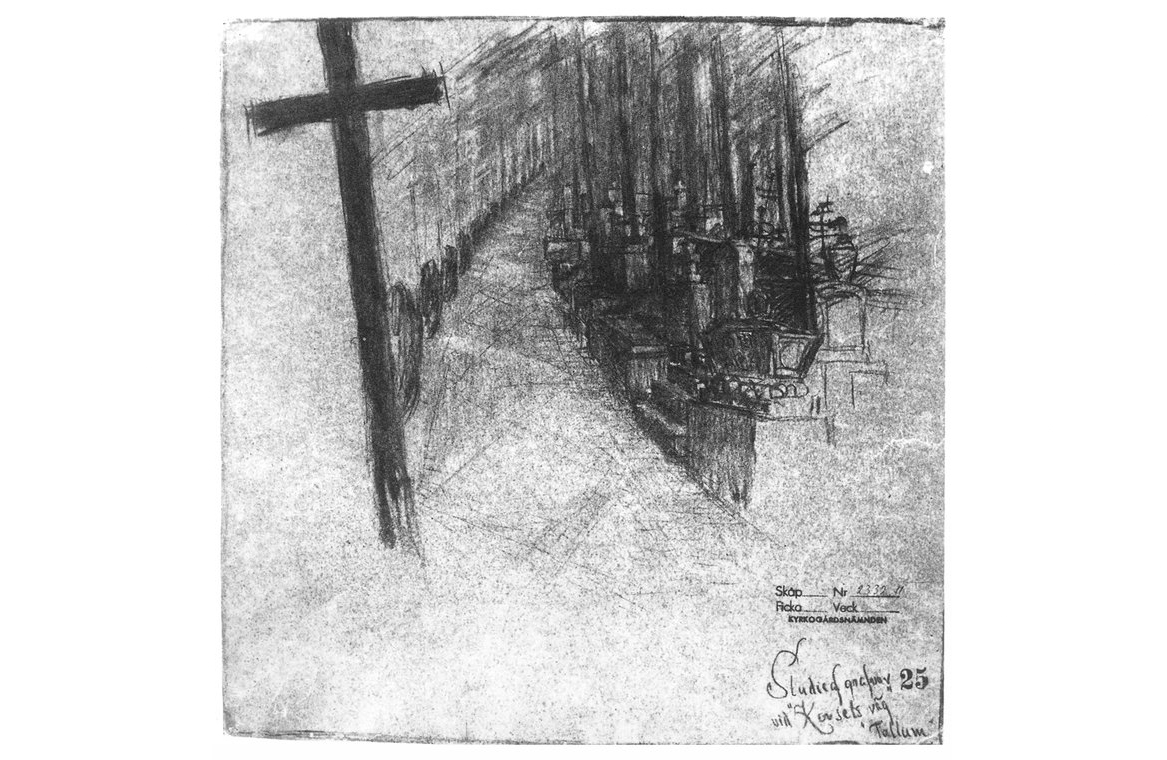 "Lewerentz, Study of graves in ""The Way of the Cross"", (The Woodland Cemetery: Toward a Spiritual Landscape, pg 34)"