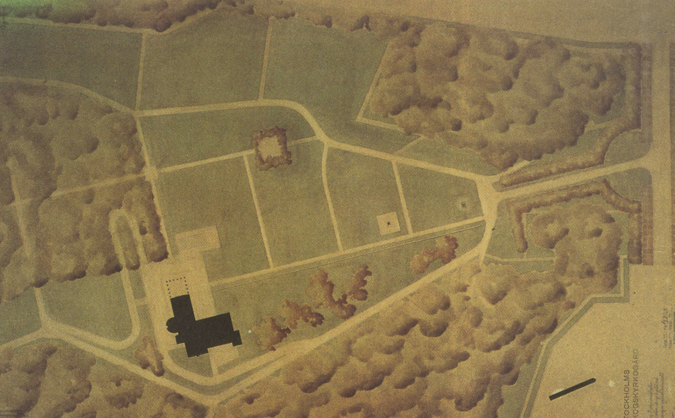 Lewerentz, Woodland Cemetery Site Plan, watercolor, 1932