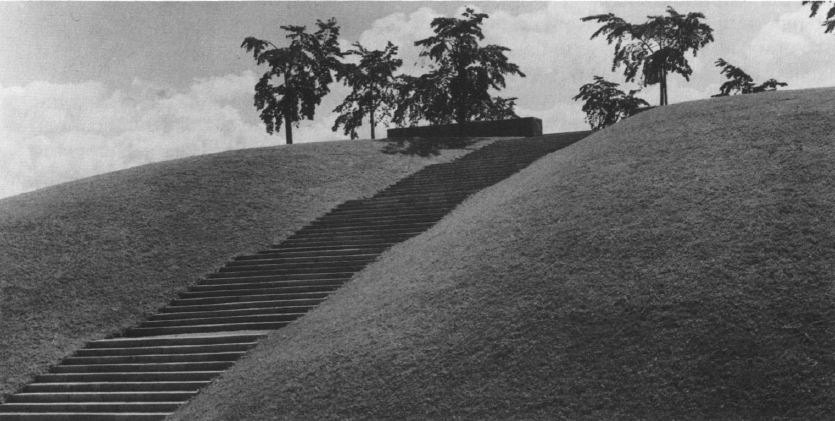 Woodland Crematorium 1935-40, steps to the meditation grove by Sigurd Lewerentz (Wrede pg. 210)