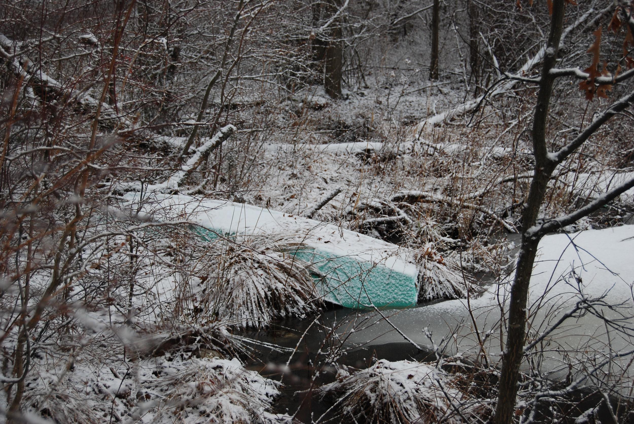 """©""""Winter Boat on Pond"""" Photograph by Shelita Birchett Benash, 1/16/14."""